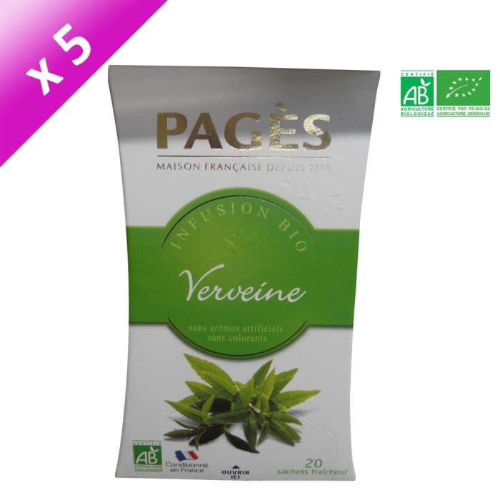 PAGES Lot de 5 Infusions Tilleul Bio