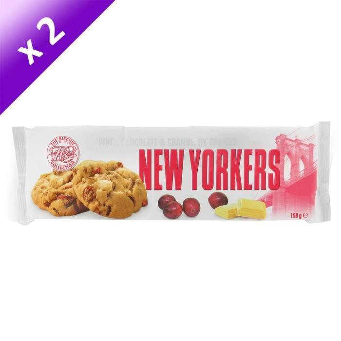 [LOT DE 2] NEW YORKERS Cookies aux Pépites de Chocolat Blanc et Cranberry - 150 g