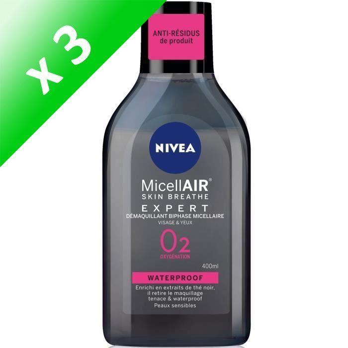 NIVEA Démaquillant Biphase Expert Black micellaire - Pour peaux sensibles - 400 ml (Lot de 3)