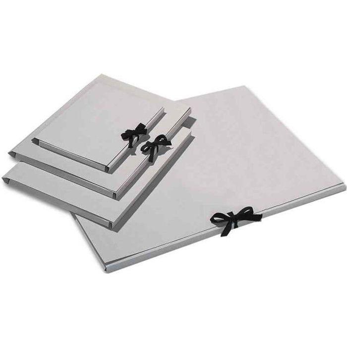 Chemise de rangement carton 500g gris personnalisable A3 avec noeud