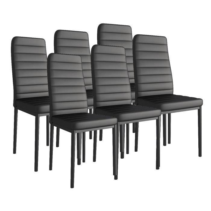 KOSMI - Lot de 6 chaises noires design rembourrées en simili cuir Bandeau blanc pour salle à manger