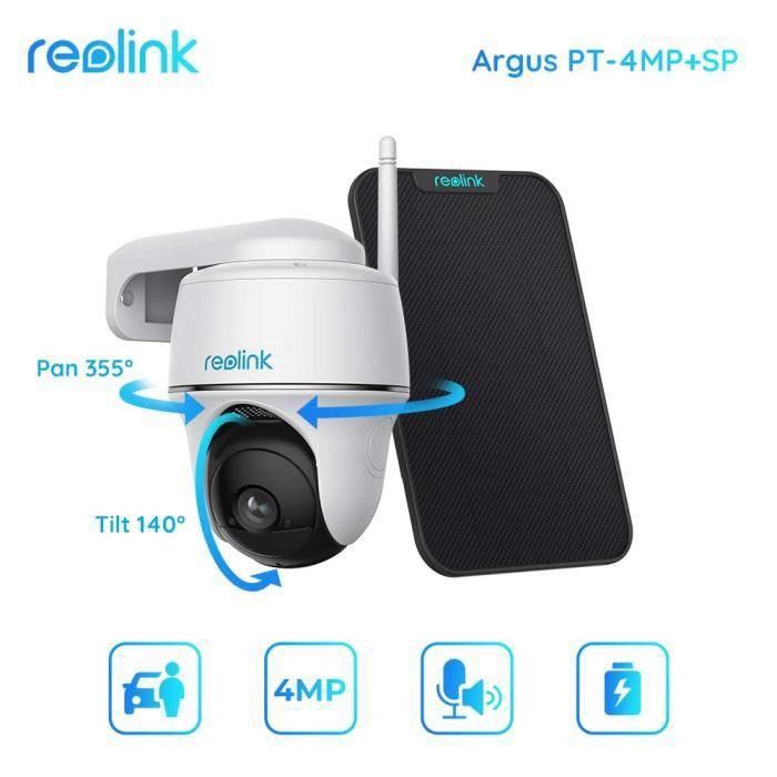 Reolink Caméra de surveillance Wifi Extérieur 1080P batterie Argus PT avec Panneau Solaire Detéction PIR Audio Bidirectionnel 2,4GHz