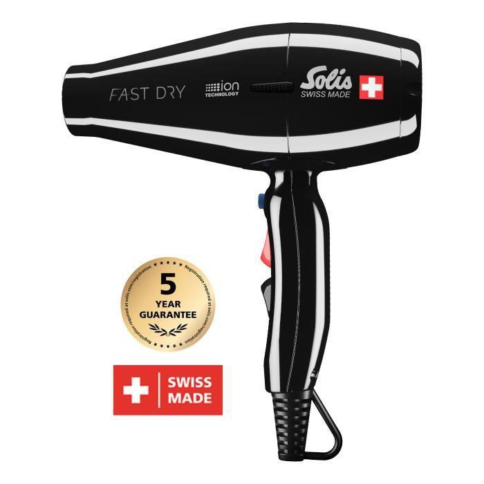 Sèche Cheveux Professionnel - Seche Cheveux Ionique - Noir - Fast Dry 381 Solis