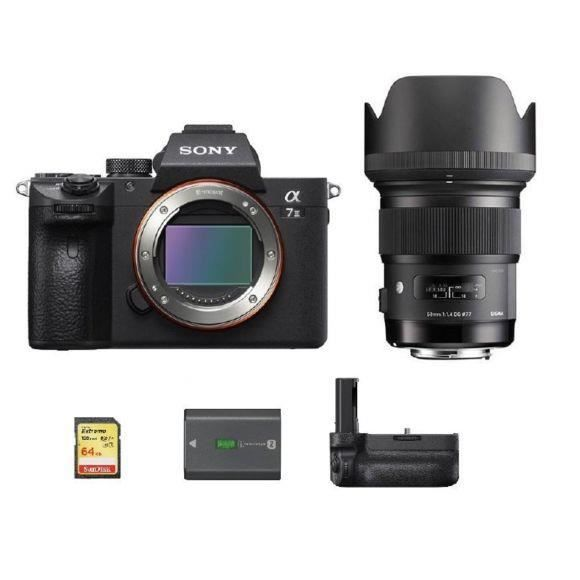 SONY A7 III + SIGMA 50mm F1.4 DG HSM ART - SONY + 64GB SD card + SONY NP-FZ100 Battery + VG-C3EM Vertical Grip
