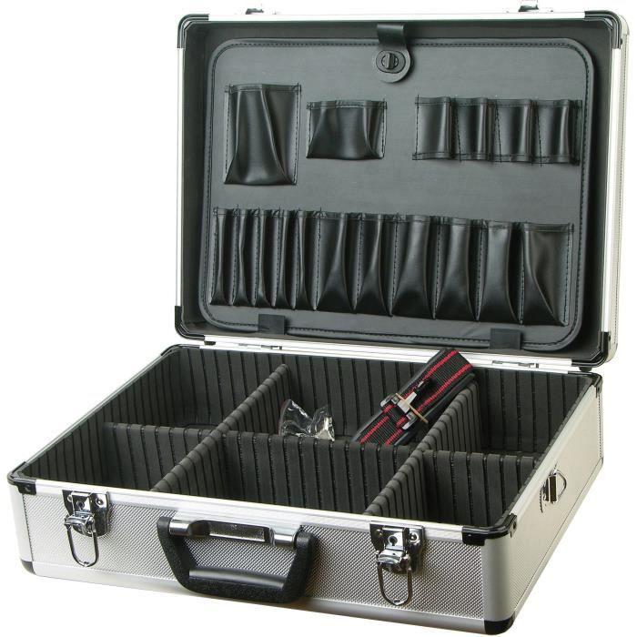 TEC HIT Malette aluminium 45,5 x 33 x 15,2 cm pour outillage avec compartiment de rangement