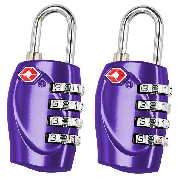 2 x 4 -Chiffres TSA Cadenas à combinaison pour les bagages Valises et Violet Voyage