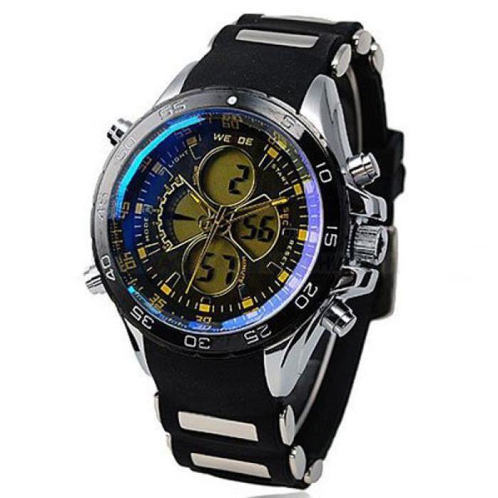 WEIDE WH-1103 Montre-bracelet de sport à double affichage analogique numérique à LED pour hommes étanche avec MONTRE BRACELET