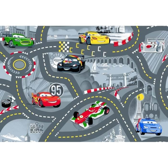 tapis enfant cars circuit de voiture achat vente tapis cdiscount. Black Bedroom Furniture Sets. Home Design Ideas