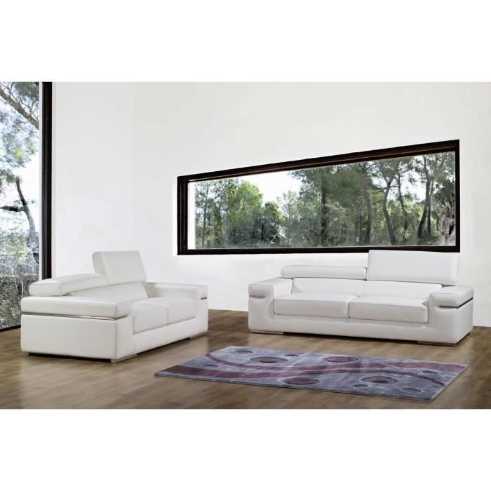 ensemble canap 3 2 places en cuir blanc thomas achat vente canap sofa divan cdiscount. Black Bedroom Furniture Sets. Home Design Ideas