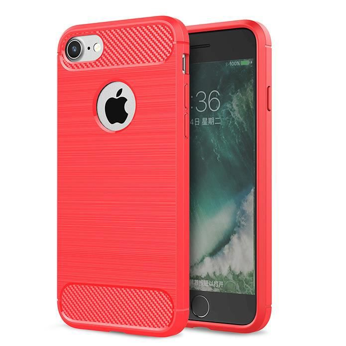 coque apple iphone 7 rouge silicone souple antich
