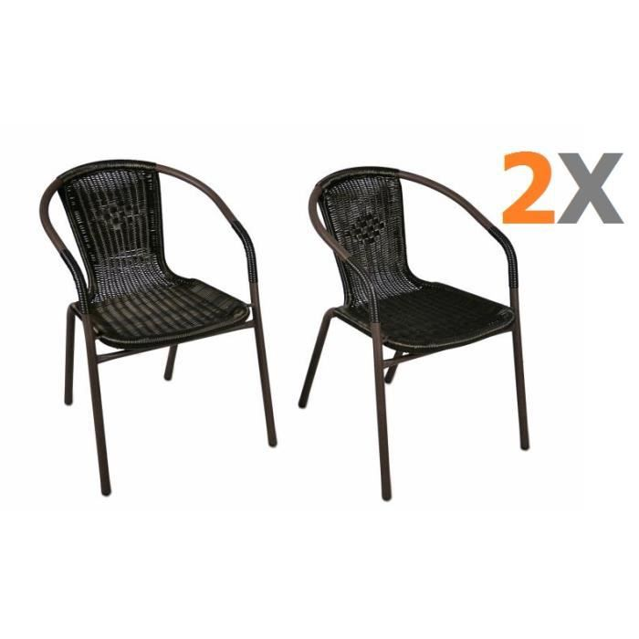 2 x chaises bistro poly rotin noir empilable achat. Black Bedroom Furniture Sets. Home Design Ideas