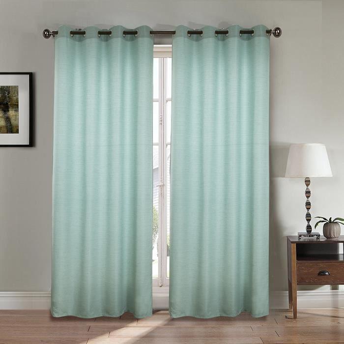 RIDEAU Paire double rideaux 140x260 cm Vert - Effet lin