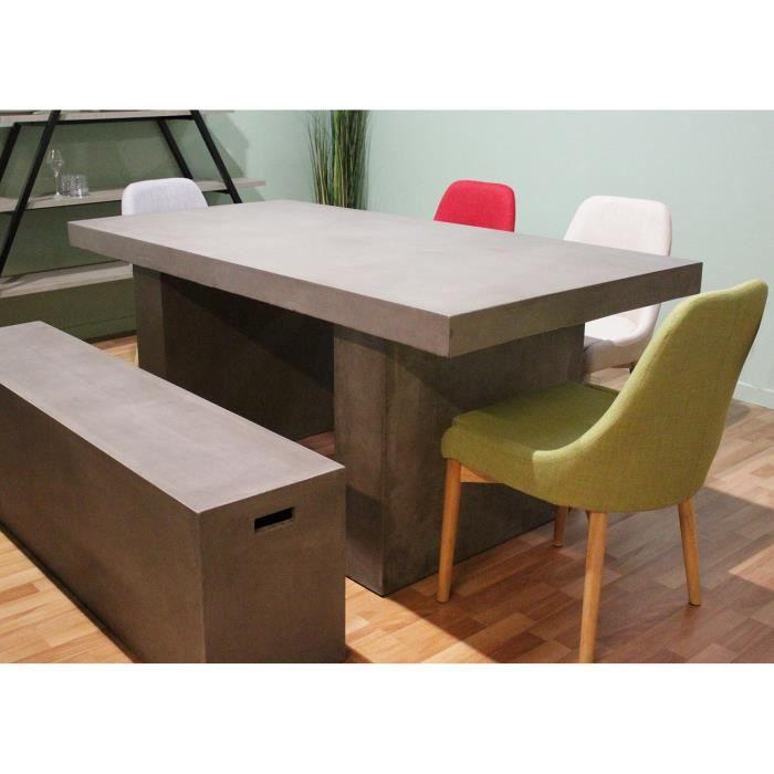 Table de repas en béton - salon et jardin - design contemporain loft et  industriel