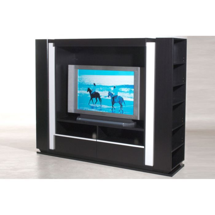 meuble tv avec rangements noir et blanc malvi achat. Black Bedroom Furniture Sets. Home Design Ideas