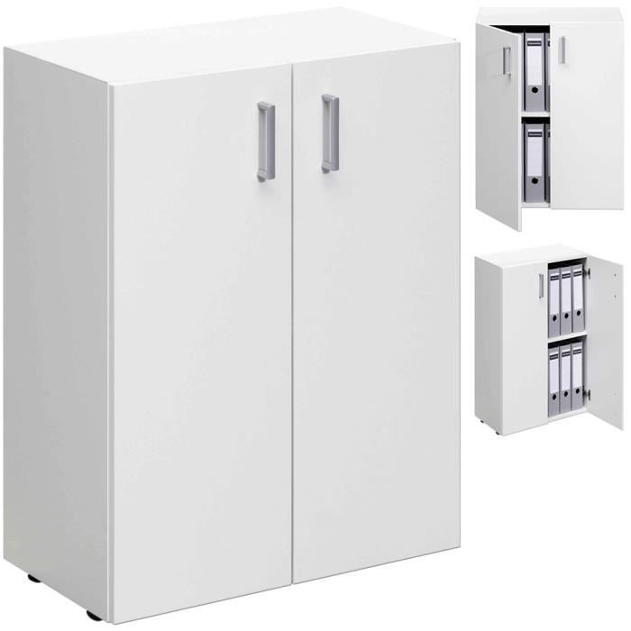 armoire 2 portes rangement meuble 77cm blanc achat. Black Bedroom Furniture Sets. Home Design Ideas