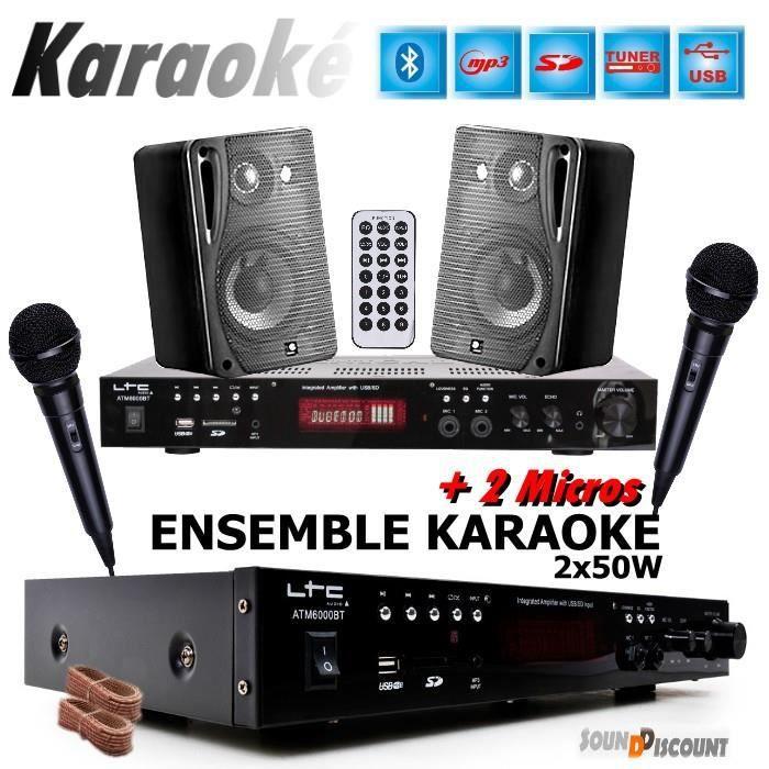 Pack DJ PA karaoke hifi 200W enceintes ampli micro sono Auna