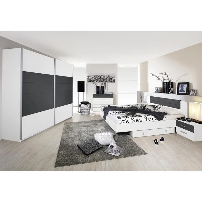 Chambre adulte design coloris blanc-gris Barcelone-180 x 200 ...