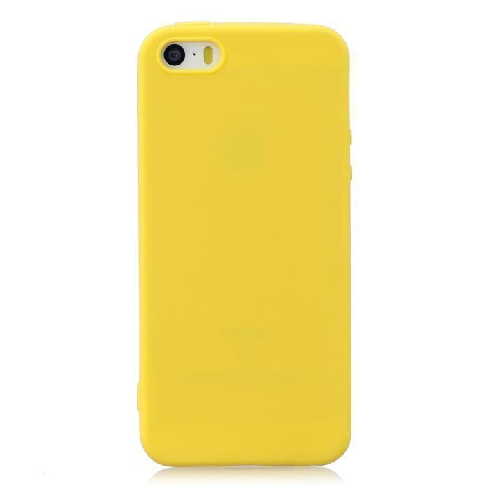 coque iphone 5s 5 se jaune couleur unie souple ant