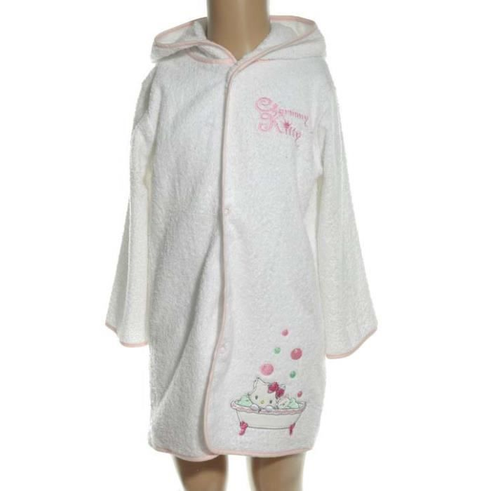 Charmmy kitty peignoir coton blanc b b fille achat for Peignoir de bain fille