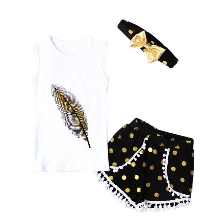 Ensemble Fille pour 2-6 Ans Enfant Fille Vetement Bebe Fille Sucette Costume Habit B/éb/é Fille Ensemble Pantalon et Haut Vetement Fille Ete Tee Shirt Fille Short Fille