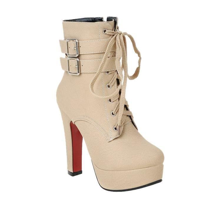 Minetom Femme Martin Boots Automne Hiver Bottines Cheville Bottes À Lacets Et Boucle Bout Rond Couleur Unie Talon Haut Lacet