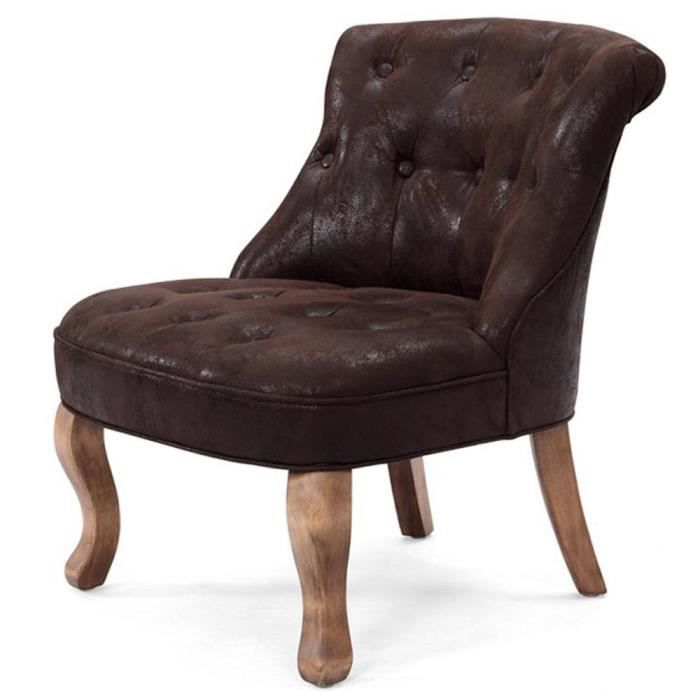 fauteuil crapaud capitonn microfibre marron vinta achat. Black Bedroom Furniture Sets. Home Design Ideas