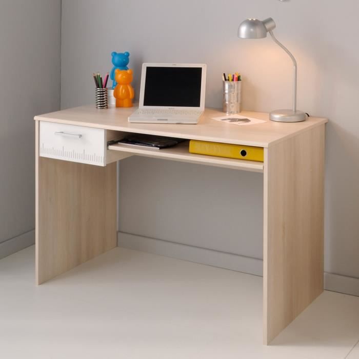 bureau en bois avec tiroir et tablette coulissante h 75 x l 108 x p 59 cm achat vente. Black Bedroom Furniture Sets. Home Design Ideas