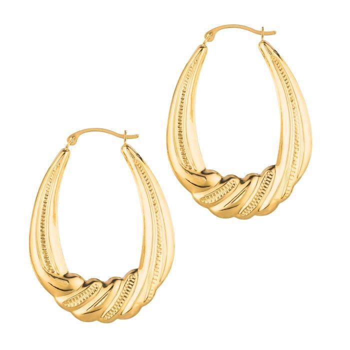 Womens Mcs Jewelry 14 Karat Yellow Gold Swirled Hoop Earrings 35 Mm V3CYR