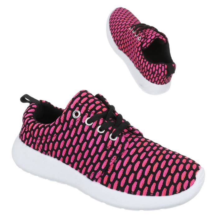 Femme chaussures loisirs chaussures lacer Sneaker rose 36