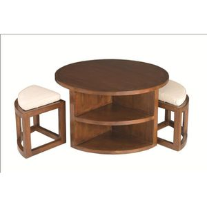 TABLE BASSE LOLA Table basse ronde ethnique + 2 tabourets avec