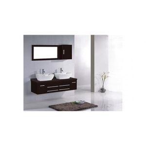 SALLE DE BAIN COMPLETE Meuble de salle de bain Hera 2 vasques + 1 Miroir