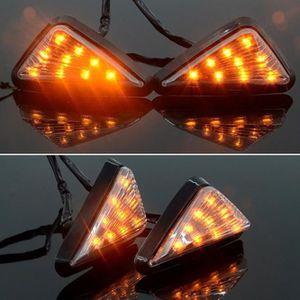 Keenso Moto Ambre Feux de Signalisation Flush Universel Jaune Lumi/ère Moto Triangle Clignotant LED 2 pcs//paire