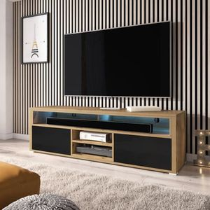 137 cm Meuble TV//Banc TV Effet ch/êne wotan avec LED Selsey Mario