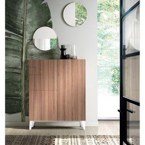 MEUBLE À CHAUSSURES Commode meuble à chaussures coloris Noyer-blanc -