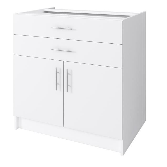 City meuble bas de cuisine l 80 cm blanc laqu brillant for Meuble de cuisine bas blanc