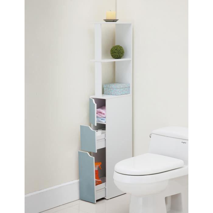 COLONNE - ARMOIRE WC TOP Colonne de toilette L 15 cm - Blanc et bleu ma