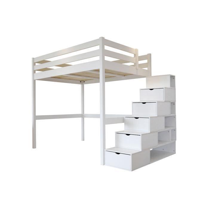 Lit Mezzanine Sylvia avec escalier cube bois - Couleur - Blanc, Dimensions - 90x200