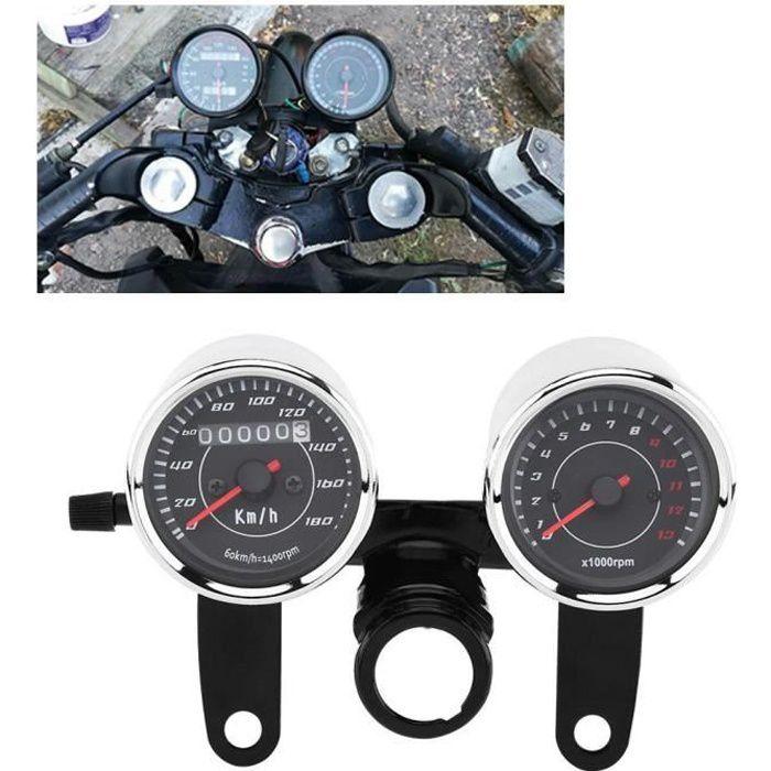 Indicateur de vitesse compteur kilométrique tachymètre jauge compteur moto moto universelle LED-LAT