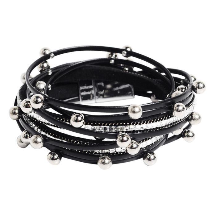 BRACELET - GOURMETTE - JONC Bracelet en cuir de perles multicouche pour femmes avec bracelet à boucle magnétique en diamant