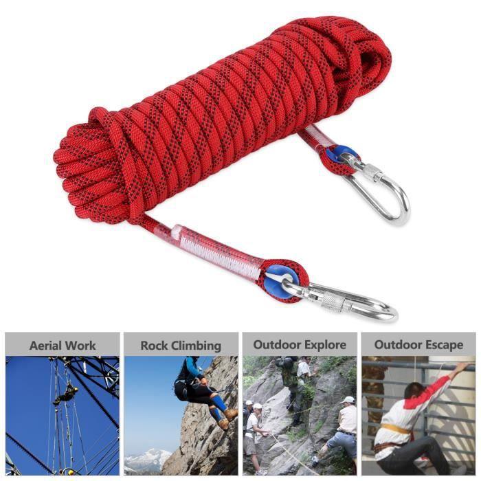 20m Corde d'Escalade pour Escalader Parachute Robuste 12mm Rouge