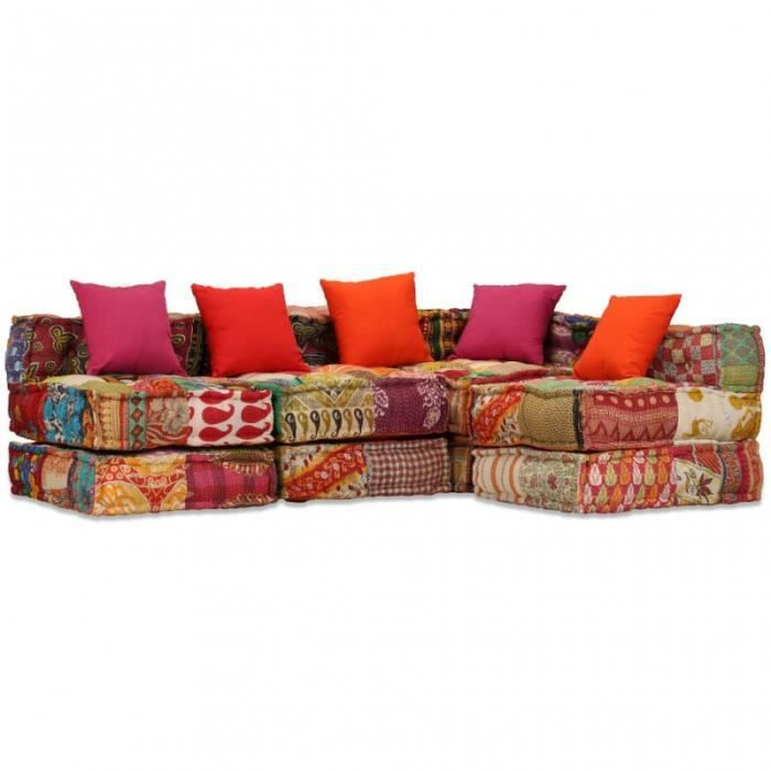 Canapé 4 places modulable + coussins en tissu patchwork multicolore L.200CM CS2449811