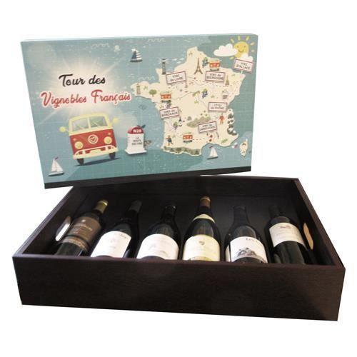 Plateau Tour des Vignobles Français de 6 bouteilles