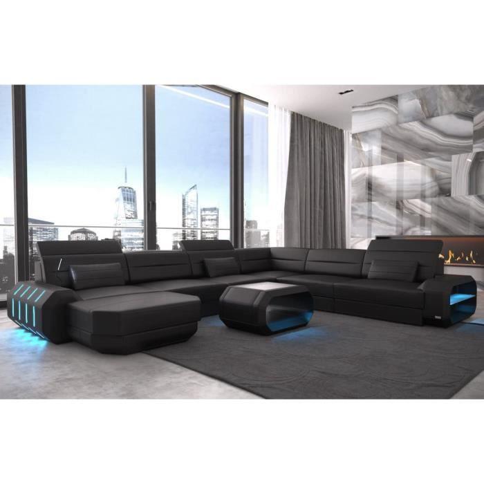 XXL Intérieur Design Cuir Rome Noir-Noir Canapé Coin Canapé Cuir Canapé Designersofa LED Eclairage Lumière Appuie-Tête Etc