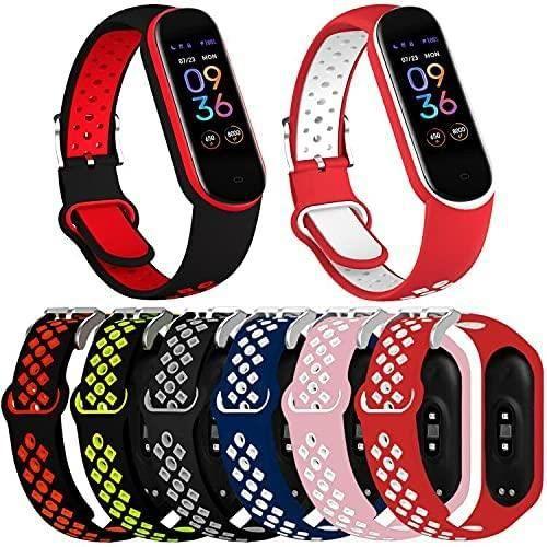 Th-some 6PCS Bracelet pour Amazfit Band 5, Bracelet de Remplacement en Silicone pour Bracelets de montre Amazfit Band 5, Bracele123