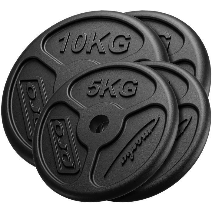 Marbo Sport Ensemble de Poids Minces en Fonte en Fonte ø30 / 31 mm 2 x 10 kg + 2 x 5 kg / 30 kg