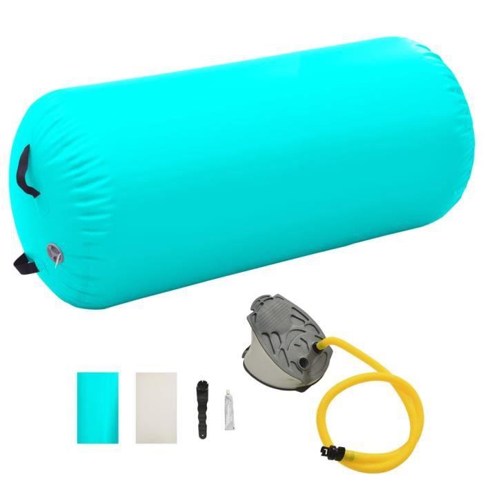 Luxueuse-Gonflable Air Roller -Rouleau gonflable de gymnastique Tapis Yoga Cylindre de Gymnastiqueavec pompe 120x90 cm PVC Vert♫5063