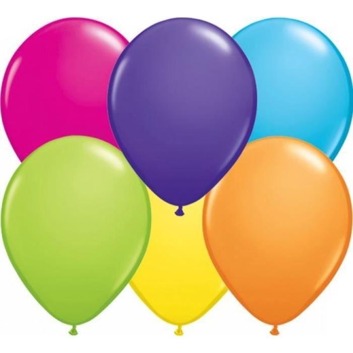 Lot de 20 ballons de baudruche en latex nacré métallisé multicolore