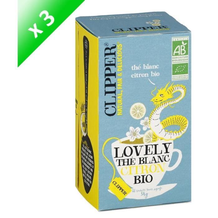 [LOT DE 3] CLIPPER Thé blanc citron - 3 x 34g