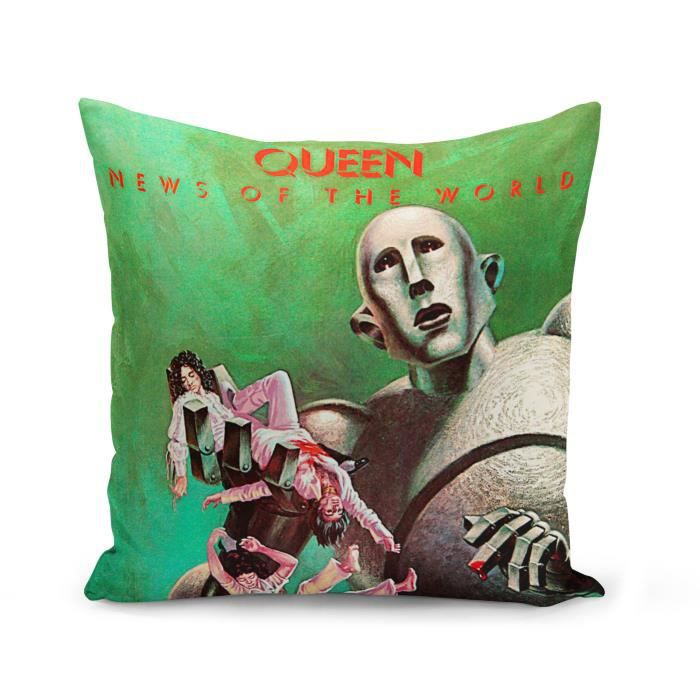 Housse de Coussin 40x40 cm Queen Freddy Mercury News of the World Album Cover Rock 80's
