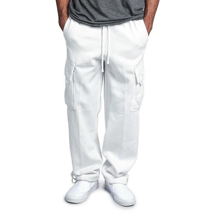Pantalons Hommmes De Survêtement Cordon Élastique La Taille De Poche Solide Loose Straight Movement Joggers Casual